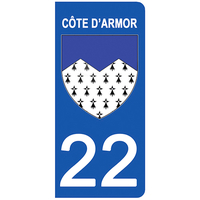 2 stickers pour plaque d'immatriculation pour Auto, 22 blason Côtes-d'Armor