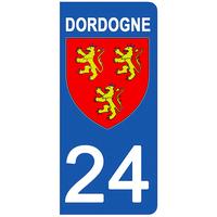 2 stickers pour plaque d'immatriculation pour Auto, 24 blason Dordogne