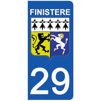 2 stickers pour plaque d'immatriculation pour Auto, 29 blason du Finistère