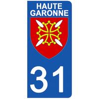 2 stickers pour plaque d'immatriculation pour Auto, 31 blason de Haute Garonne