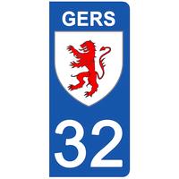 2 stickers pour plaque d'immatriculation pour Auto, 32 blason du Gers