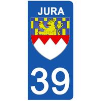 2 stickers pour plaque d'immatriculation pour Auto, 39 blason du Jura