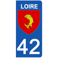 2 stickers pour plaque d'immatriculation pour Auto, 42 blason de la Loire