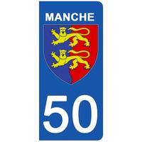 2 stickers pour plaque d'immatriculation pour Auto, 50 blason de la Manche