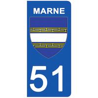2 stickers pour plaque d'immatriculation pour Auto, 51 blason de la Marne