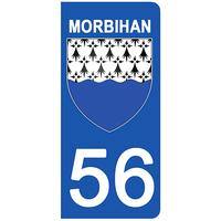 2 stickers pour plaque d'immatriculation pour Auto, 56 blason du Morbihan