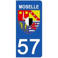 2 stickers pour plaque d'immatriculation pour Auto, 57 blason de la Moselle