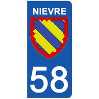 2 stickers pour plaque d'immatriculation pour Auto, 58 blason de la Nièvre