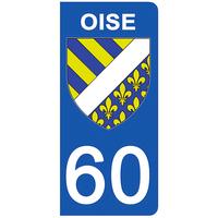2 stickers pour plaque d'immatriculation pour Auto, 60 blason de l'Oise