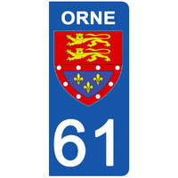 2 stickers pour plaque d'immatriculation pour Auto, 61 blason de l'Orne