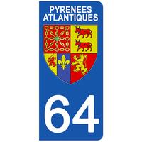 2 stickers pour plaque d'immatriculation pour Auto, 64 blason des Pyrénées Atlantiques