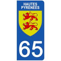 2 stickers pour plaque d'immatriculation pour Auto, 65 blason des Hautes Pyrénées