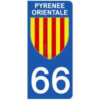2 stickers pour plaque d'immatriculation pour Auto, 66 blason des Pyrénées Orientales