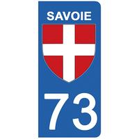 2 stickers pour plaque d'immatriculation pour Auto, 73 blason de Savoie