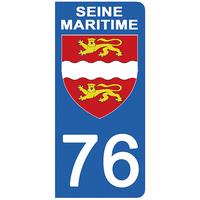 2 stickers pour plaque d'immatriculation pour Auto, 76 blason de la Seine Maritime