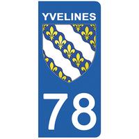 2 stickers pour plaque d'immatriculation pour Auto, 78 blason des Yvelines