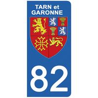2 stickers pour plaque d'immatriculation pour Auto, 82 blason du Tarn et Garonne
