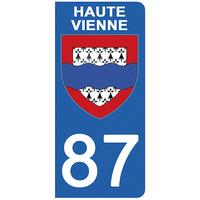 2 stickers pour plaque d'immatriculation pour Auto, 87 blason de la Haute Vienne