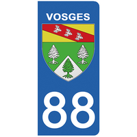 2 stickers pour plaque d'immatriculation pour Auto, 88 blason des Vosges