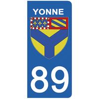 2 stickers pour plaque d'immatriculation pour Auto, 89 blason de l'Yonne