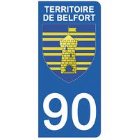 2 stickers pour plaque d'immatriculation pour Auto, 90 blason du Territoire de Belfort