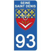 2 stickers pour plaque d'immatriculation pour Auto, 93 blason de Seine Saint Denis