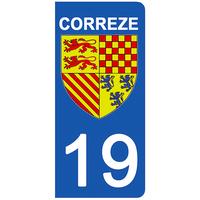 2 stickers pour plaque d'immatriculation pour Auto, 19 blason Corrèze