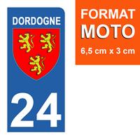 1 sticker pour plaque d'immatriculation MOTO, côté Droit, 24 Dordogne