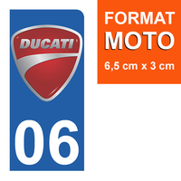 1 sticker pour plaque d'immatriculation MOTO, côté Droit, 06 Alpes Maritime, Ducati