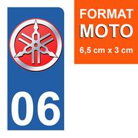1 sticker pour plaque d'immatriculation MOTO, côté Droit, 06 Alpes Maritime, Yamaha
