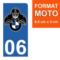 1 sticker pour plaque d'immatriculation MOTO, côté Droit, 06 Alpes Maritime, BMW
