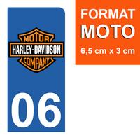 1 sticker pour plaque d'immatriculation MOTO, côté Droit, 06 Alpes Maritime, Harley Davidson