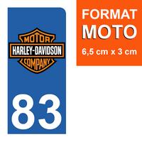 1 sticker pour plaque d'immatriculation MOTO, côté Droit, 83 Var, Harley Davidson