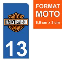 1 sticker pour plaque d'immatriculation MOTO, côté Droit, 13, Bouches du Rhône, Harley Davidson