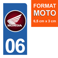 1 sticker pour plaque d'immatriculation MOTO, côté Droit, 06, Alpes Maritime, Honda