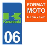 1 sticker pour plaque d'immatriculation MOTO, côté Droit, 06, Alpes Maritime, Kawasaki