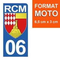 1 sticker pour plaque d'immatriculation MOTO, côté Droit, 06, Roquebrune Cap Martin