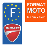 1 sticker pour plaque d'immatriculation MOTO, DUCATI