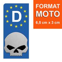 1 sticker pour plaque d'immatriculation MOTO, Allemagne, HARLEY DAVIDSON SKULL