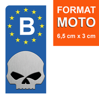 1 sticker pour plaque d'immatriculation MOTO, Belgique, HARLEY DAVIDSON SKULL