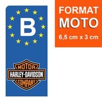 1 sticker pour plaque d'immatriculation MOTO, Belgique, HARLEY DAVIDSON