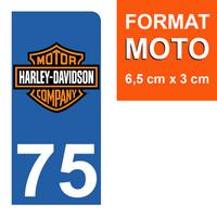 1 sticker pour plaque d'immatriculation MOTO, côté Droit, 75 Paris, Harley Davidson