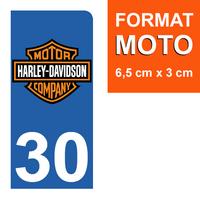 1 sticker pour plaque d'immatriculation MOTO, côté Droit, 30 Gard, Harley Davidson
