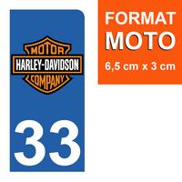 1 sticker pour plaque d'immatriculation MOTO, côté Droit, 33 Gironde, Harley Davidson