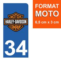 1 sticker pour plaque d'immatriculation MOTO, côté Droit, 34 Herault, Harley Davidson