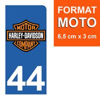 1 sticker pour plaque d'immatriculation MOTO, côté Droit, 44 Loire-Atlantique, Harley Davidson
