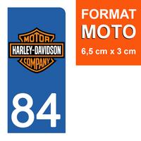 1 sticker pour plaque d'immatriculation MOTO, côté Droit, 84 Vaucluse, Harley Davidson