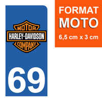 1 sticker pour plaque d'immatriculation MOTO, côté Droit, 69 Rhône, Harley Davidson