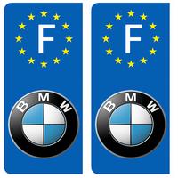 2 stickers pour plaque d'immatriculation, BMW