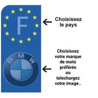 1 sticker pour plaque d'immatriculation MOTO, gauche EU,  Bleu ou Noir